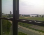 View of Moakley Park Playing field, Columbia Point from Mid-Rise 6th Floor one-bedroom apartment.
