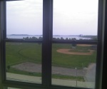 View of Moakley Park Playing Field, Carson Beach from Mid-Rise 6th Floor one-bedroom apartment.